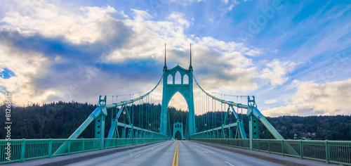 Fotobehang Brug St. John's Bridge in Portland Oregon, USA