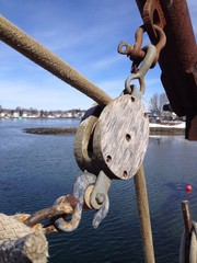 rigging pulley on a boat
