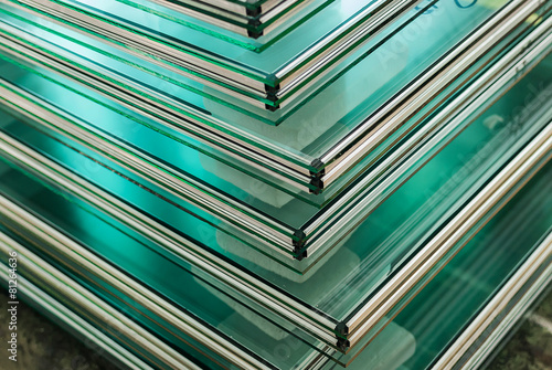 Leinwanddruck Bild Sheets of Tempered Window Glass