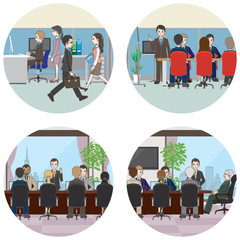 オフィスで働く人々
