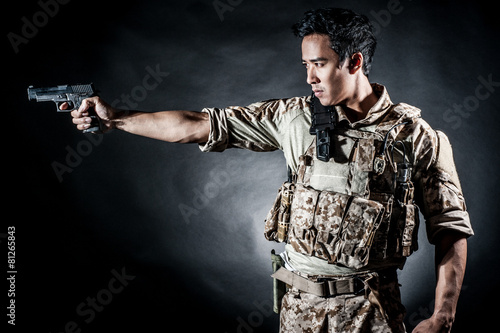 soldier man hold gun fashion Poster