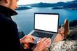 Leinwanddruck Bild - Man with laptop on the top of mountain