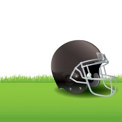 American Football Helmet Sitting on Grass Illustration