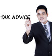 Asian person writes tax advice