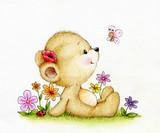 Cute Teddy bear and butterfly - 81267896