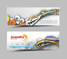 Laundry Service Business Web Banner & Header Layout.