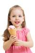 happy kid eating ice cream in studio isolated