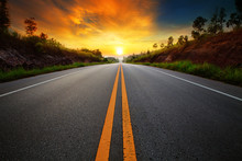 "Постер, картина, фотообои ""beautiful sun rising sky with asphalt highways road in rural sce"""