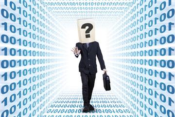 Businessperson walking on a binary aisle