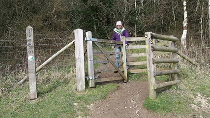 Woman on a country walk going through a wooden kissing gate