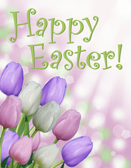 Happy Easter card text with and tulips abstract bokeh background