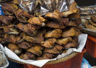 street food sidewalk snack peanut fish dry stall concept