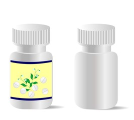 Two realistic bottles with tablets are isolated on white backgro