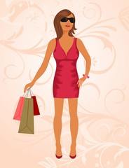 fashion shopping girl with bags