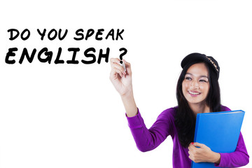 Female learner studying English