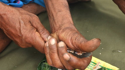 Close up of man preparing paan or betel nut or areca nut mix.