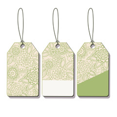 Set of sale tags.