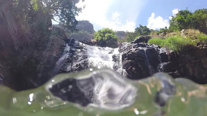 Waterfall recorded from the river in Ella, Sri Lanka.