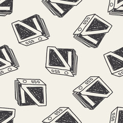 bookshelf doodle seamless pattern background