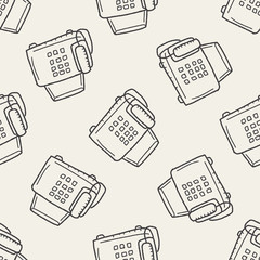 fax doodle seamless pattern background