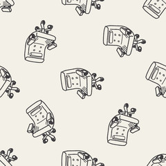 doodle chair seamless pattern background