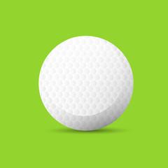 golf ball over green background flat vector