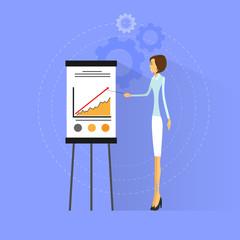 businesswoman show graph flat design vector