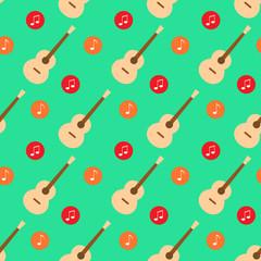 guitar music note flat design pattern vector