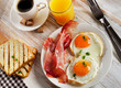 Fried Eggs , bacon and coffee for breakfast - 81271877