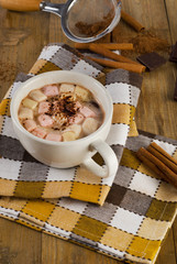 Hot Cocoa in white Mug with marshmallows