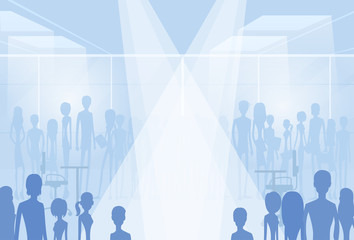 businesspeople silhouettes in office with copy space, group of
