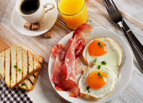 Foto op Canvas Egg Fried Eggs , bacon and coffee for breakfast