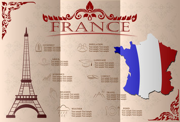 France infographics, statistical data, sights. Vector