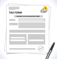 tax form format with signature and pen and money icon