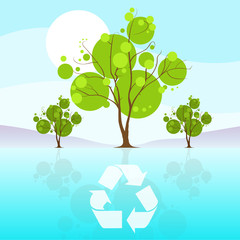 green tree recycle flat eco icon blue sky clouds