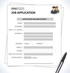 Vector minimalist cv / resume template - job application form