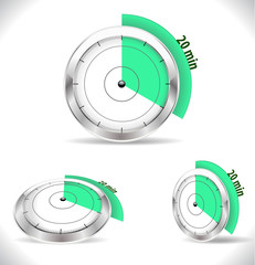 20 min timers, twenty minutes alarm - vector eps10