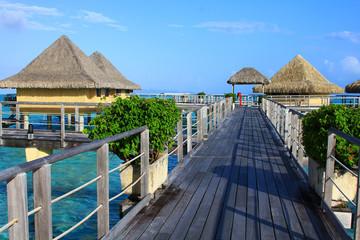 Walkway to water bungalows in Bora Bora