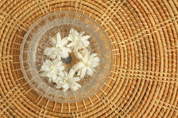 Jasmine flower in glass bowl