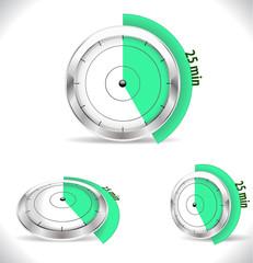 25 min timers, twenty five minutes alarm - vector eps10