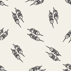 bbq meat doodle seamless pattern background