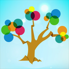 abstract transparent tree, background with circle flat colors