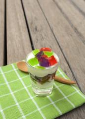Plain yogurt with colourful jelly