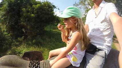 Cute little blond girl enjoying elephant safari with her father in Sri Lanka.