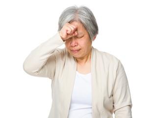 Elderly woman feel headache