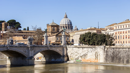 Rome, Italy. Embankments of Tiber and the bridge