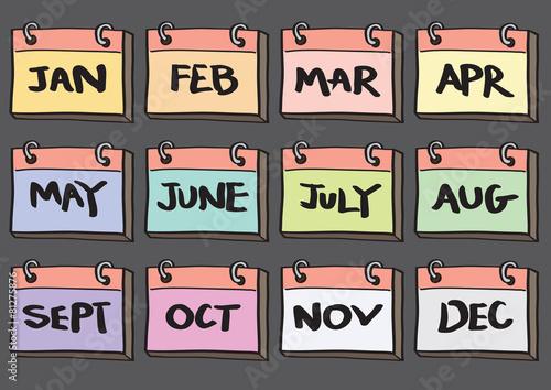 12-Month Calendar Cartoon Vector Icon Set - 81275876