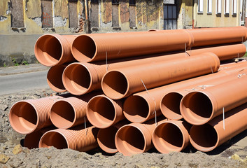 Pipes at the road construction