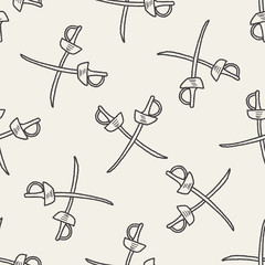 fencing doodle seamless pattern background