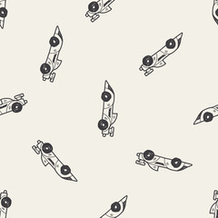racing doodle seamless pattern background